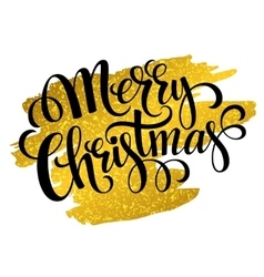 Marry christmas gold glittering lettering design vector