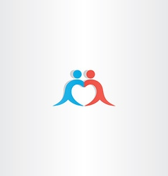 Couple boy and girl heart love logo icon vector