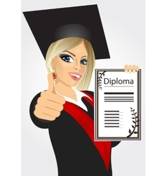 Graduating student girl in an academic gown vector