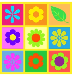 Retro brigt flower vector