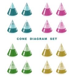 cone diagram set vector image