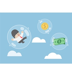 Businessman and dollar money floating in bubbles vector