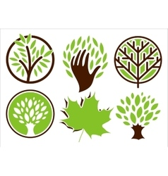 Set of logos of the trees vector