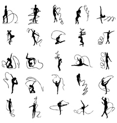 Art gymnastics silhouettes set vector