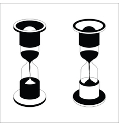 Black hourglass icon on white background vector