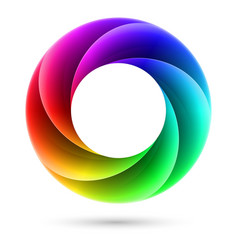 Abstract colorful spiral ring on white background vector