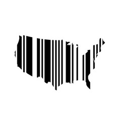 barcode in a shape of usa map black vector image vector image