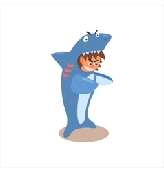 Boy desguised as shark vector