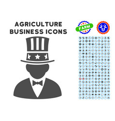 Capitalist icon with agriculture set vector
