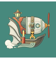 Cartoon steampunk styled flying airship with vector image