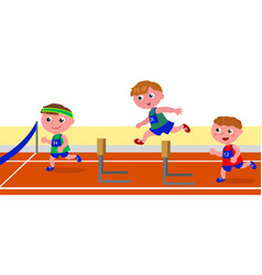 children running obstacle race vector image