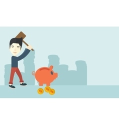 Chinese guy holding a hammer breaking piggy bank vector