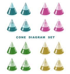 cone diagram set vector image vector image