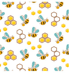 Cute bees and honey comb cells seamless pattern vector