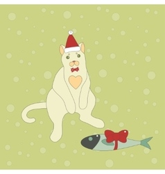 Cute christmas cat with a fish vector