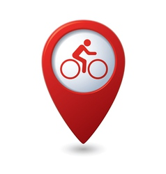 Cyclist icon on map pointer vector image