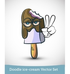 Doodle ice-cream with hand isolated on white vector image