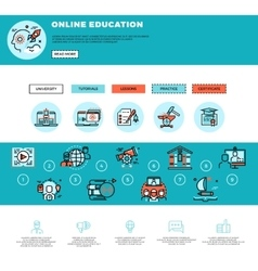 E-learning education or training courses web vector image