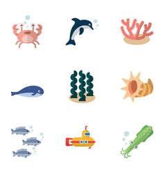 Flat icon nature set of alga playful fish vector