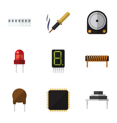 Flat icon technology set of memory hdd cpu and vector