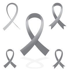 gray silver sign ribbon cancer symbol vector image vector image