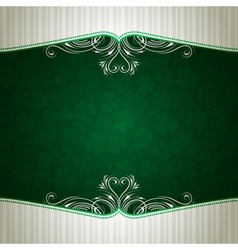Green card with shamrock vector