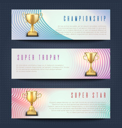 horizontal banners with sports golden trophy cups vector image vector image
