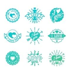I love You logo badges vector image