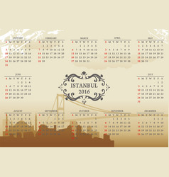 istanbul calendar vector image vector image