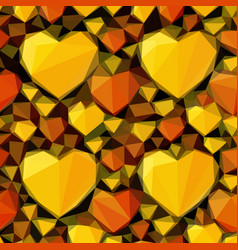 Low poly background with hearts vector
