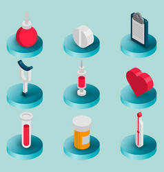 medical flat isometric set vector image