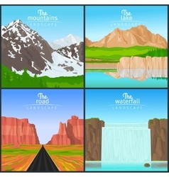 Mountains and waterfall landscape set vector
