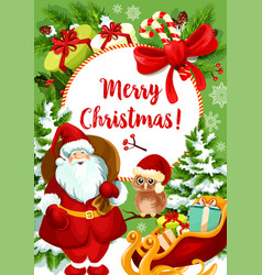 santa claus card for christmas holiday celebration vector image