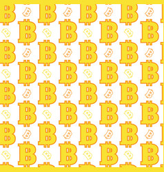 seamless pattern yellow bitcoins signs on white vector image