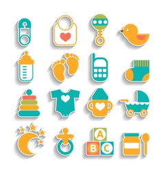 set of baby icons isolated on a white background vector image vector image
