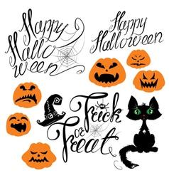 Set of Halloween elements - pumpkin cat spider vector image