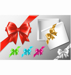 Set of multicolored bows with diagonally ribbons vector