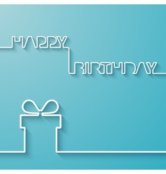 Silhouette of text and giftbox on a light blue vector image vector image