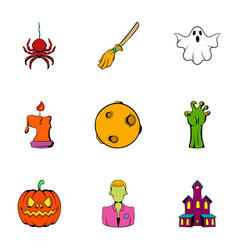 spooky holiday icons set cartoon style vector image