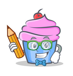 Student cupcake character cartoon style with vector