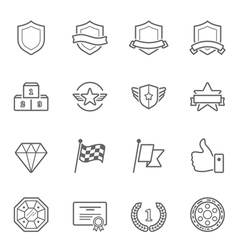 Trophy awards icons set vector