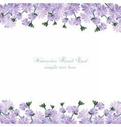 Watercolor delicate purple flowers card vector