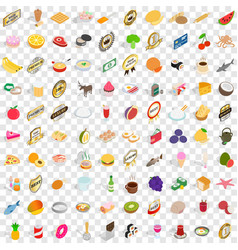 100 nutrition icons set isometric 3d style vector
