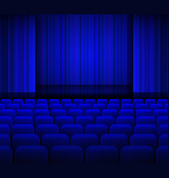 Open theater blue curtains with light and seats vector