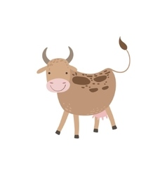 Cow with brown spots and udder standing vector