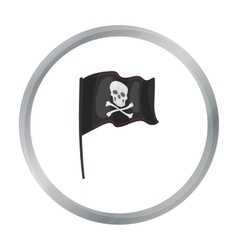 Pirate flag icon in cartoon style isolated on vector
