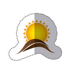 color sticker with abstract sun over hill of land vector image