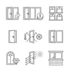 windows icon set with door and balcony lines vector image