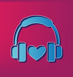 Headphones with heart  blue 3d printed vector