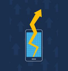 Smartphone graph arrow increase business marketing vector